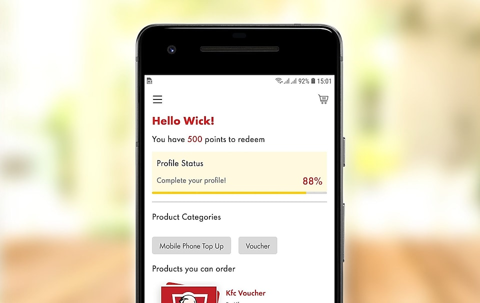 screenshot of in-app welcome function