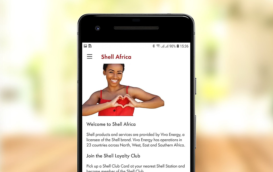 screenshot of shell africa app welcome page